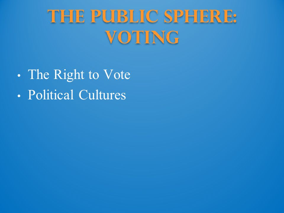 The Public Sphere: Voting The Right to Vote Political Cultures