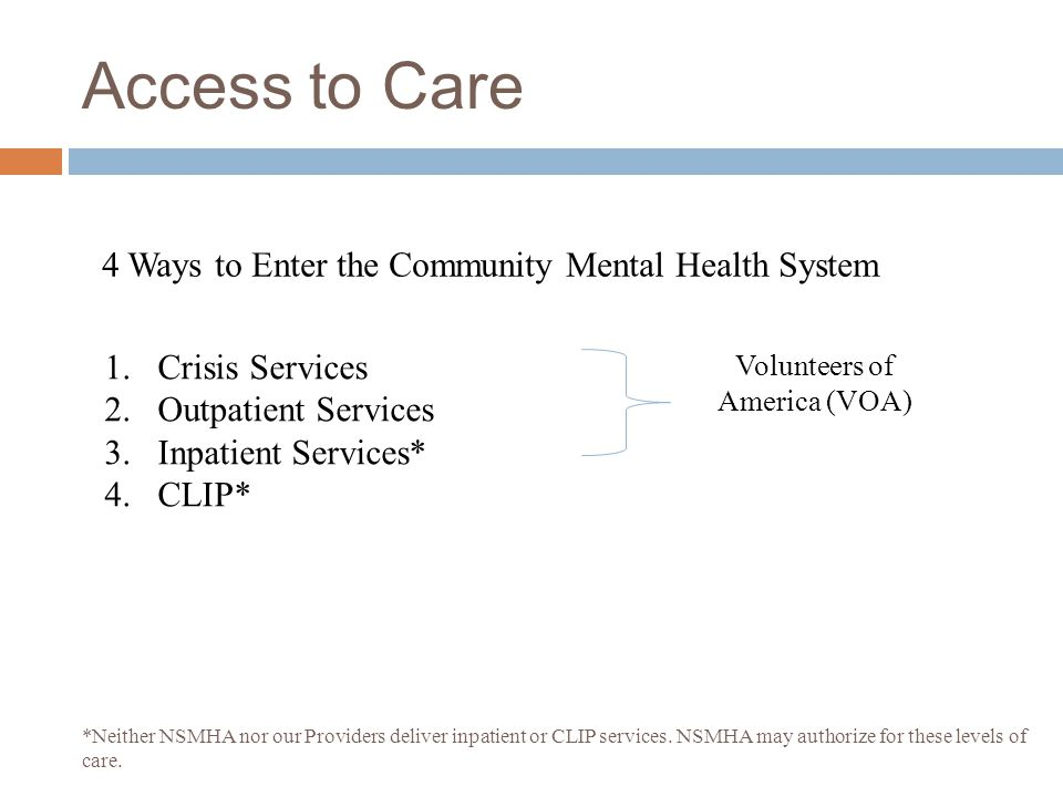 Role of VOA  24/7/Phone Crisis Intervention (800-584-3578)  24/7/ Triage Clinician Line (800-747-8654)  Linkage to Regional (Five-County) Integrate