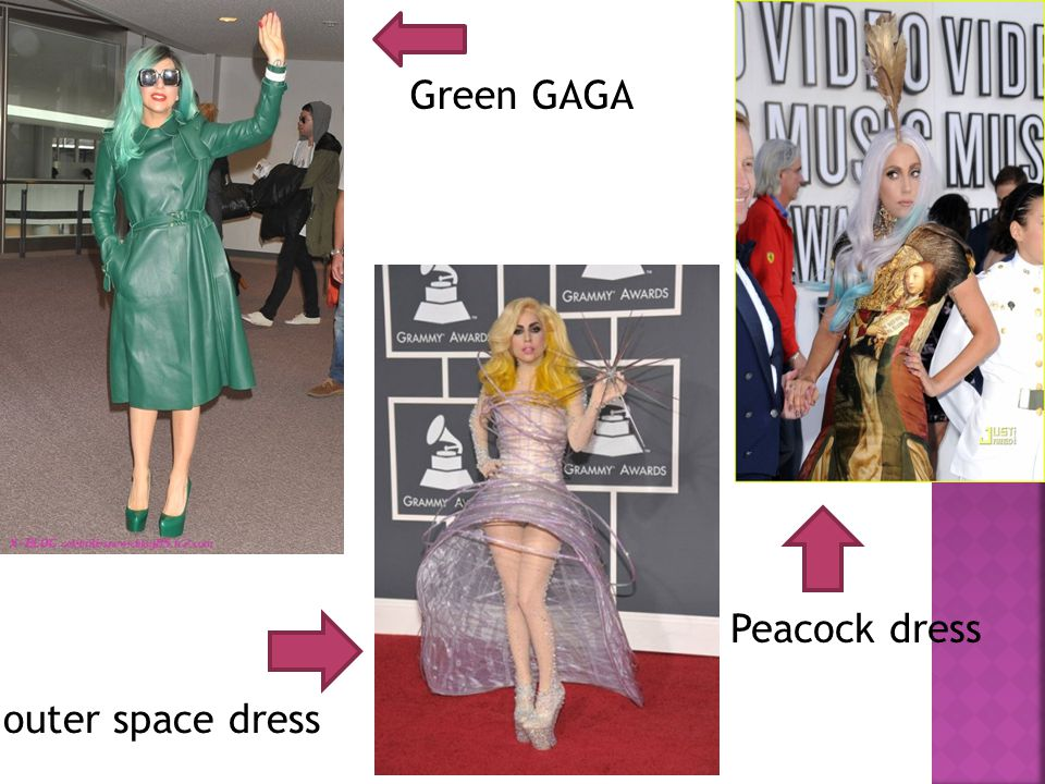 Green GAGA outer space dress Peacock dress