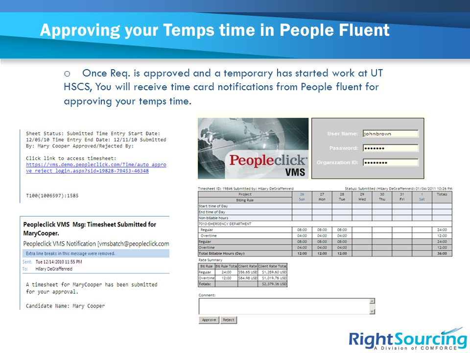 Approving your Temps time in People Fluent o Once Req.
