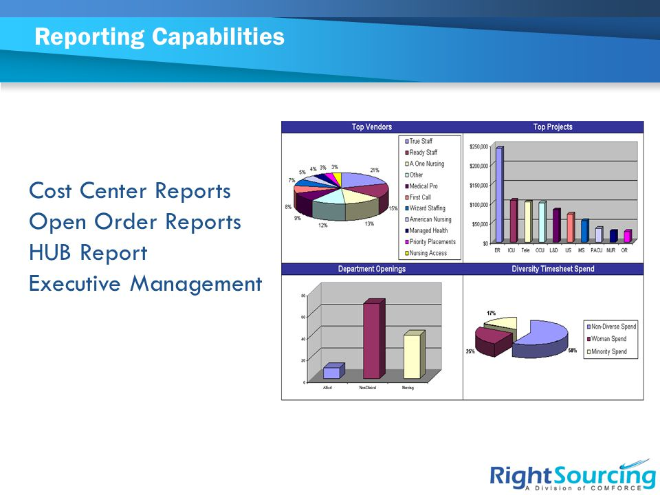 Reporting Capabilities Cost Center Reports Open Order Reports HUB Report Executive Management