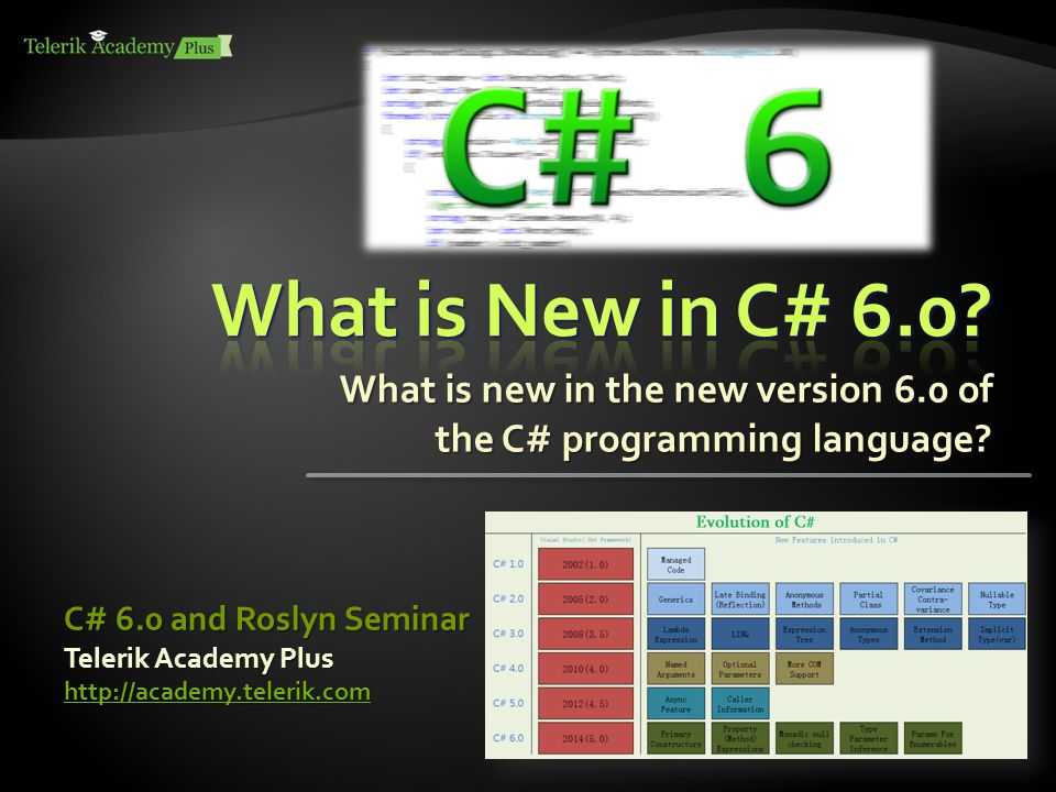 What is new in the new version 6.0 of the C# programming language.