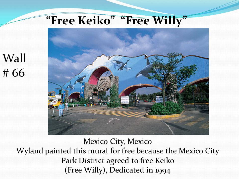 Free Keiko Free Willy Mexico City, Mexico Wyland painted this mural for free because the Mexico City Park District agreed to free Keiko (Free Willy), Dedicated in 1994 Wall # 66