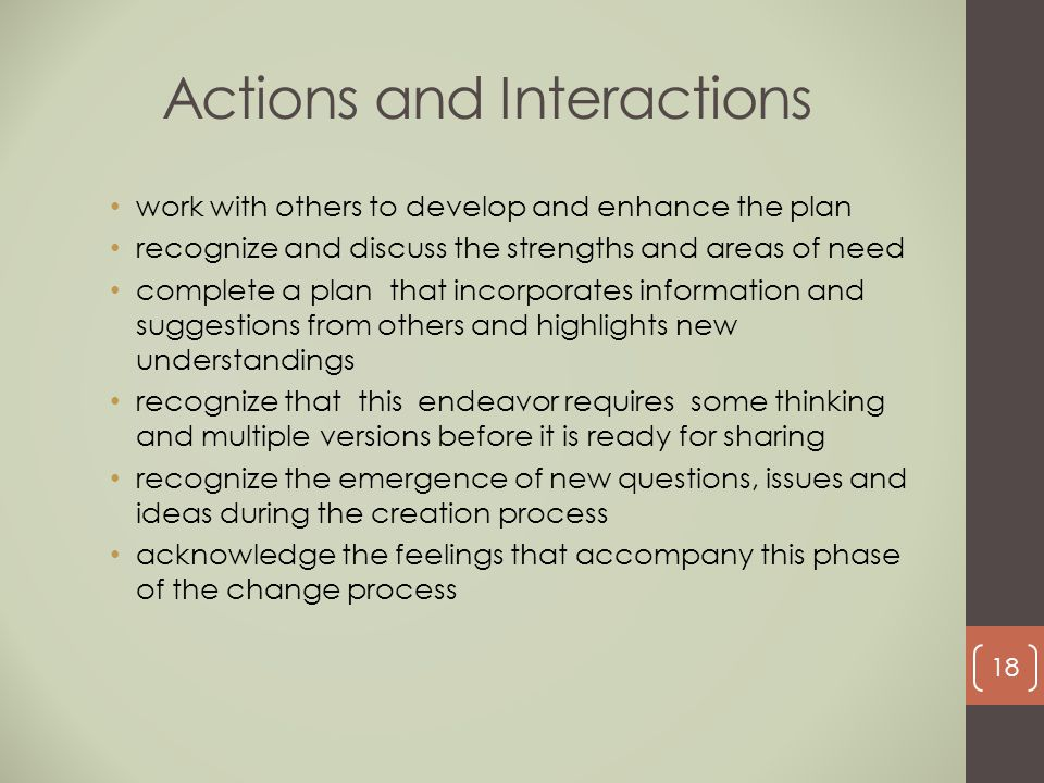 Actions and Interactions work with others to develop and enhance the plan recognize and discuss the strengths and areas of need complete a plan that i