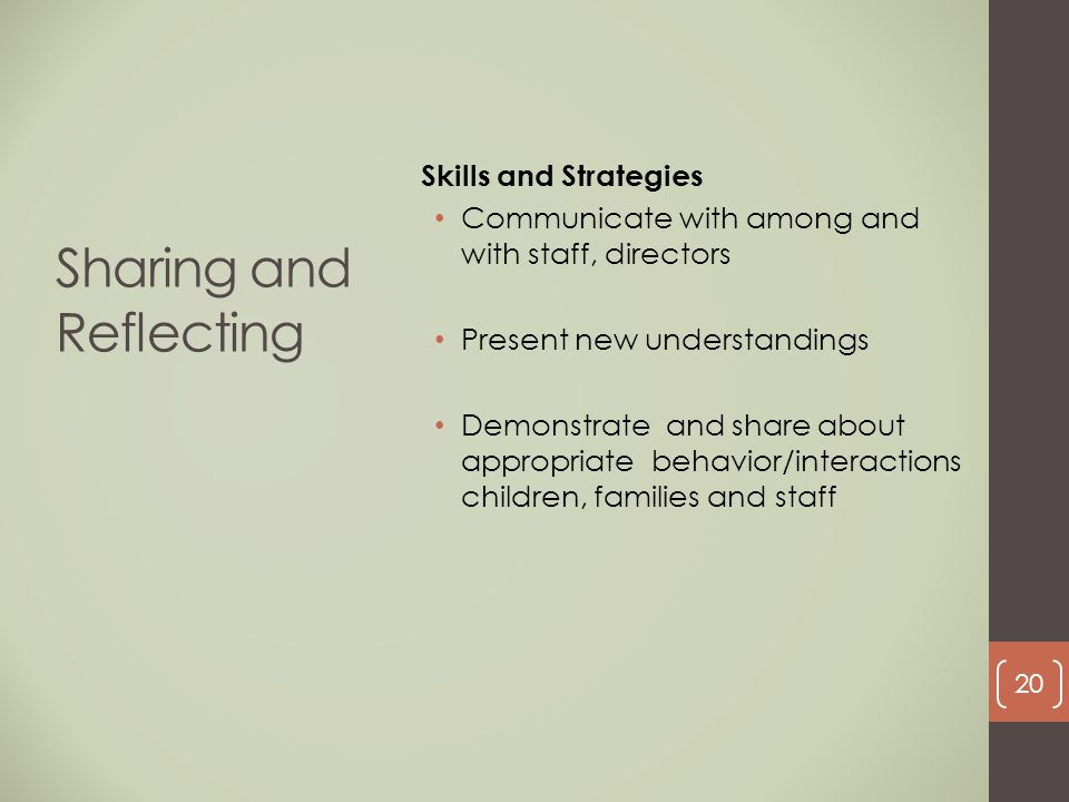 Sharing and Reflecting Skills and Strategies Communicate with among and with staff, directors Present new understandings Demonstrate and share about a
