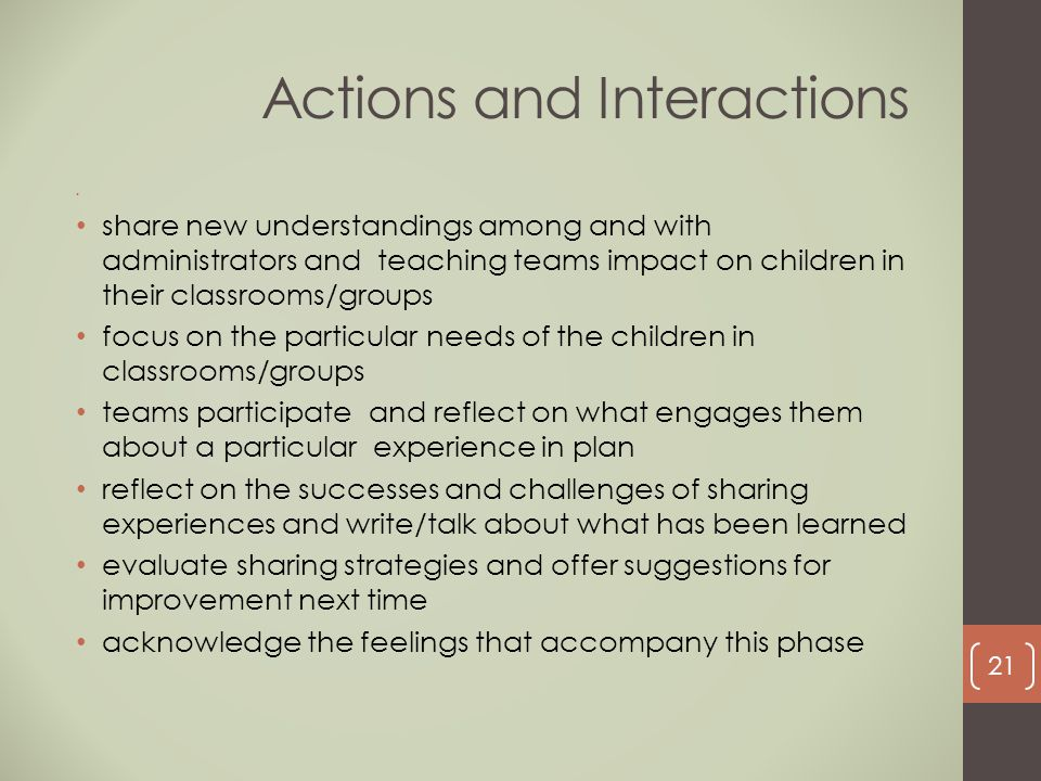 Actions and Interactions share new understandings among and with administrators and teaching teams impact on children in their classrooms/groups focus