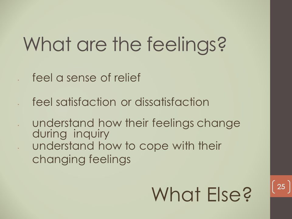 What are the feelings? feel a sense of relief feel satisfaction or dissatisfaction understand how their feelings change during inquiry understand how