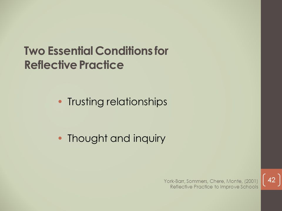 Two Essential Conditions for Reflective Practice Trusting relationships Thought and inquiry York-Barr, Sommers, Chere, Monte, (2001) Reflective Practi