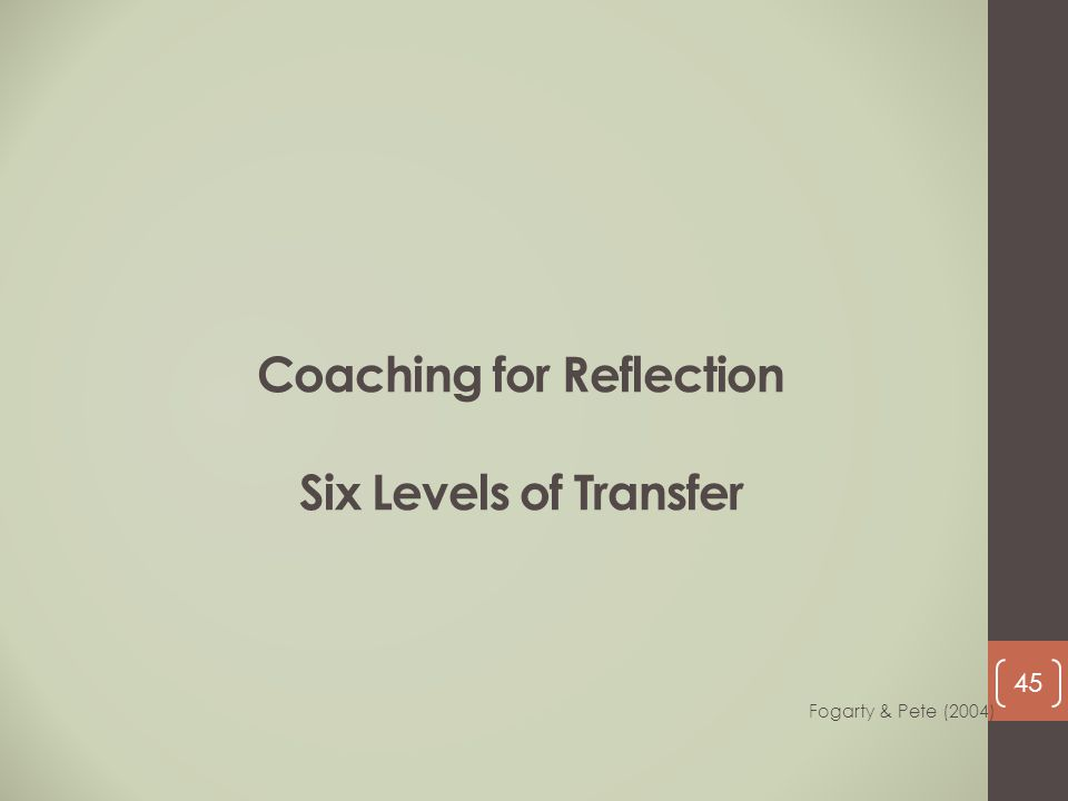 Coaching for Reflection Six Levels of Transfer Fogarty & Pete (2004) 45