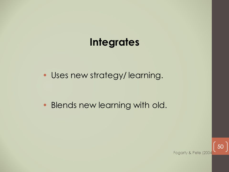 Uses new strategy/ learning. Blends new learning with old. Integrates Fogarty & Pete (2004) 50