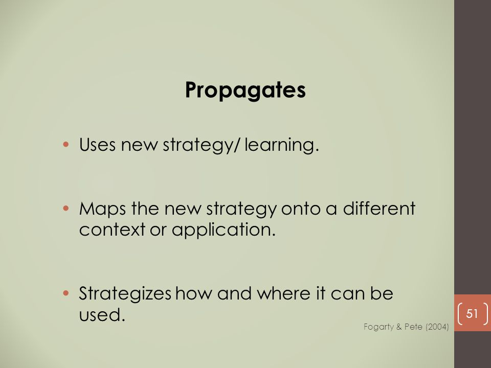 Uses new strategy/ learning. Maps the new strategy onto a different context or application. Strategizes how and where it can be used. Propagates Fogar