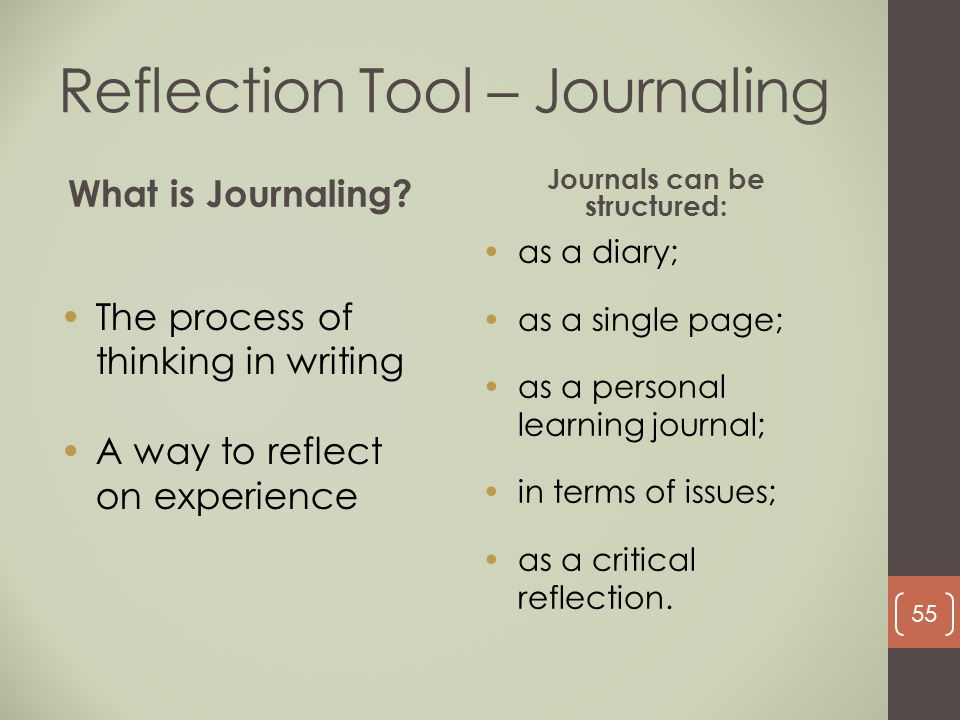 The process of thinking in writing A way to reflect on experience Reflection Tool – Journaling What is Journaling? as a diary; as a single page; as a