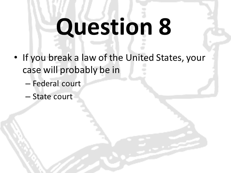 Question 8 If you break a law of the United States, your case will probably be in – Federal court – State court