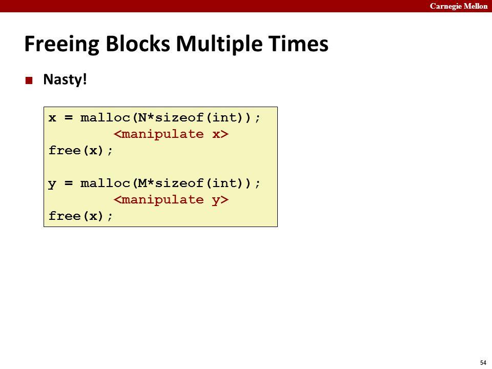 Carnegie Mellon 54 Freeing Blocks Multiple Times Nasty! x = malloc(N*sizeof(int)); free(x); y = malloc(M*sizeof(int)); free(x);