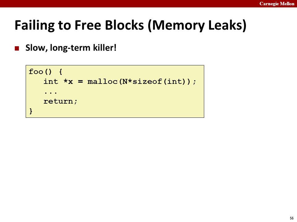 Carnegie Mellon 56 Failing to Free Blocks (Memory Leaks) Slow, long-term killer! foo() { int *x = malloc(N*sizeof(int));... return; }
