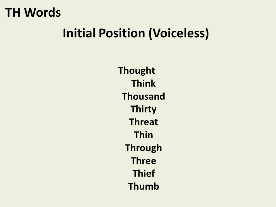 Thought Think Thousand Thirty Threat Thin Through Three Thief Thumb TH Words Initial Position (Voiceless)
