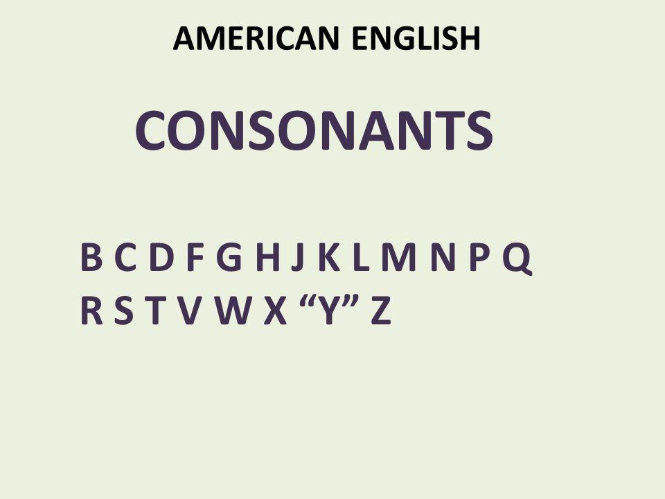AMERICAN ENGLISH CONSONANTS B C D F G H J K L M N P Q R S T V W X Y Z