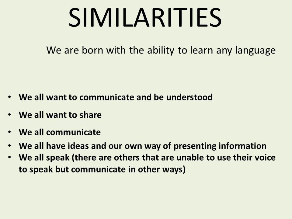 SIMILARITIES We all want to communicate and be understood We all want to share We all communicate We all have ideas and our own way of presenting info