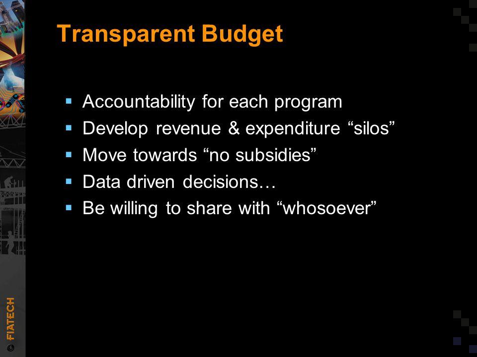 "Transparent Budget  Accountability for each program  Develop revenue & expenditure ""silos""  Move towards ""no subsidies""  Data driven decisions… "