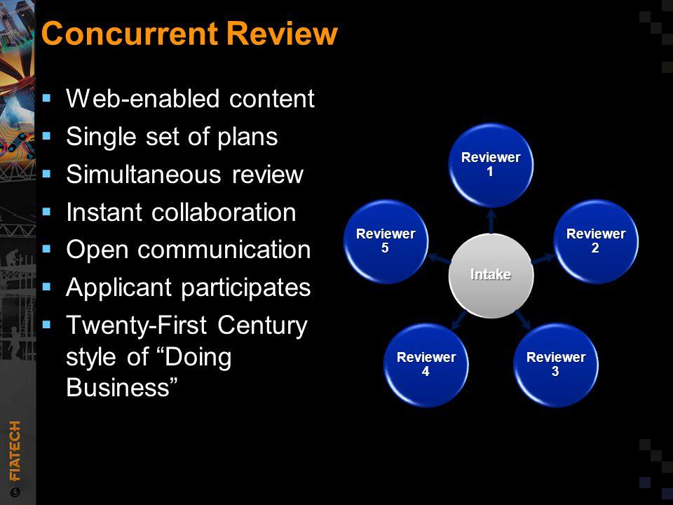 Concurrent Review  Web-enabled content  Single set of plans  Simultaneous review  Instant collaboration  Open communication  Applicant participa