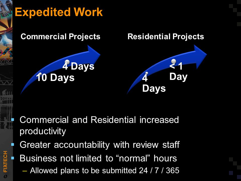 """Expedited Work  Commercial and Residential increased productivity  Greater accountability with review staff  Business not limited to """"normal"""" hours"""