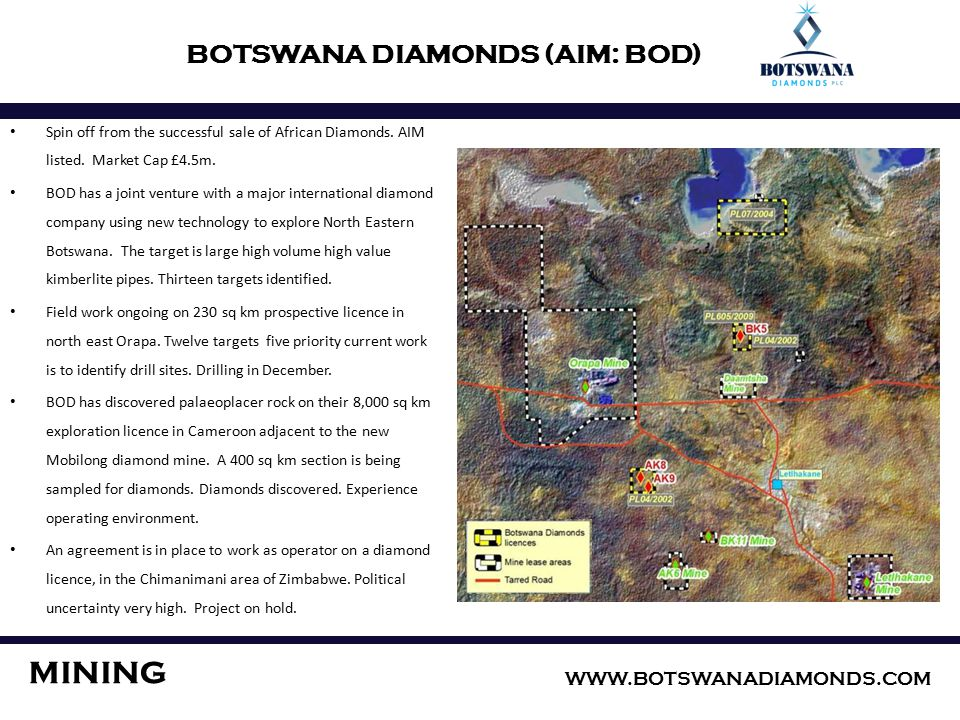 BOTSWANA DIAMONDS (AIM: BOD) Spin off from the successful sale of African Diamonds.