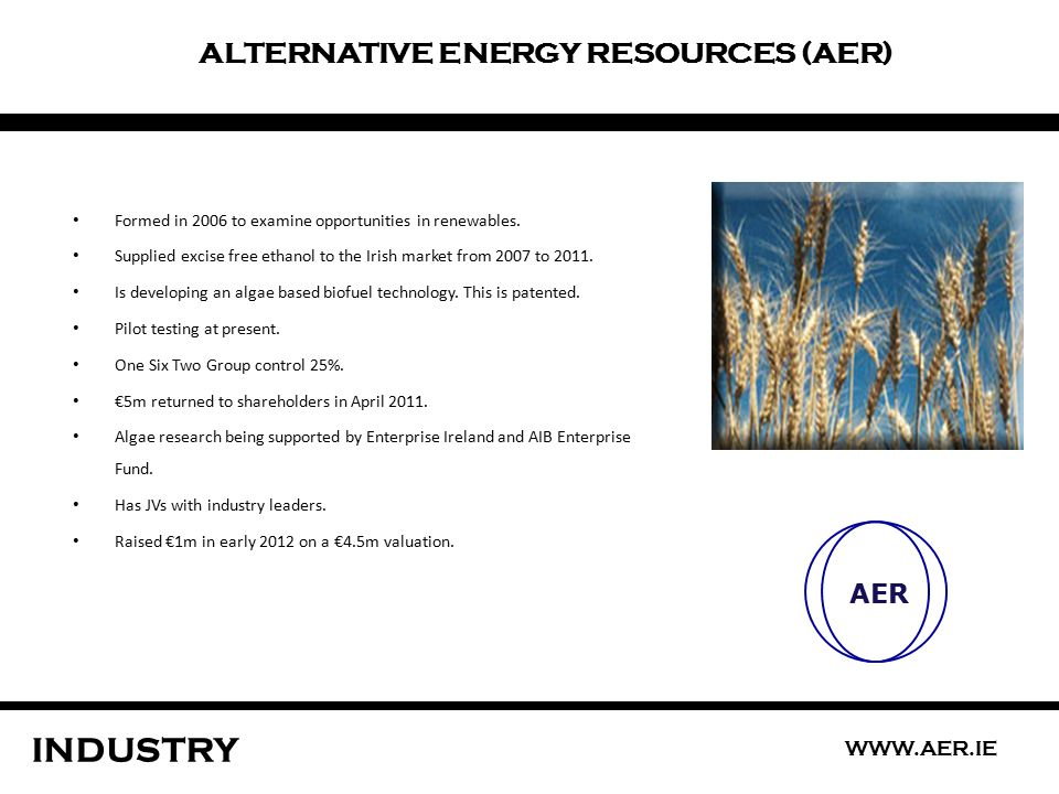 ALTERNATIVE ENERGY RESOURCES (AER) INDUSTRY AER Formed in 2006 to examine opportunities in renewables.