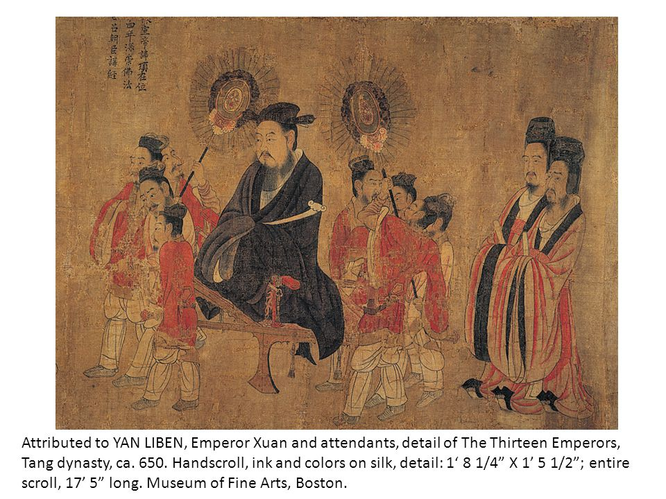 Attributed to YAN LIBEN, Emperor Xuan and attendants, detail of The Thirteen Emperors, Tang dynasty, ca. 650. Handscroll, ink and colors on silk, deta