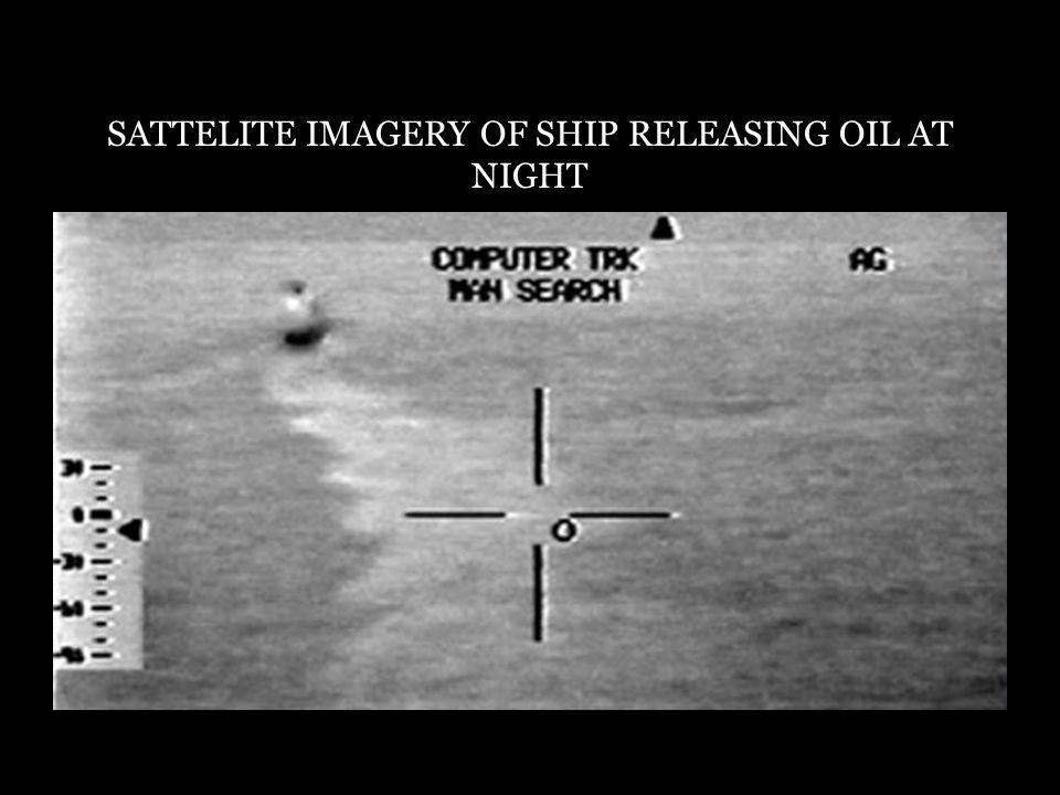 SATTELITE IMAGERY OF SHIP RELEASING OIL AT NIGHT