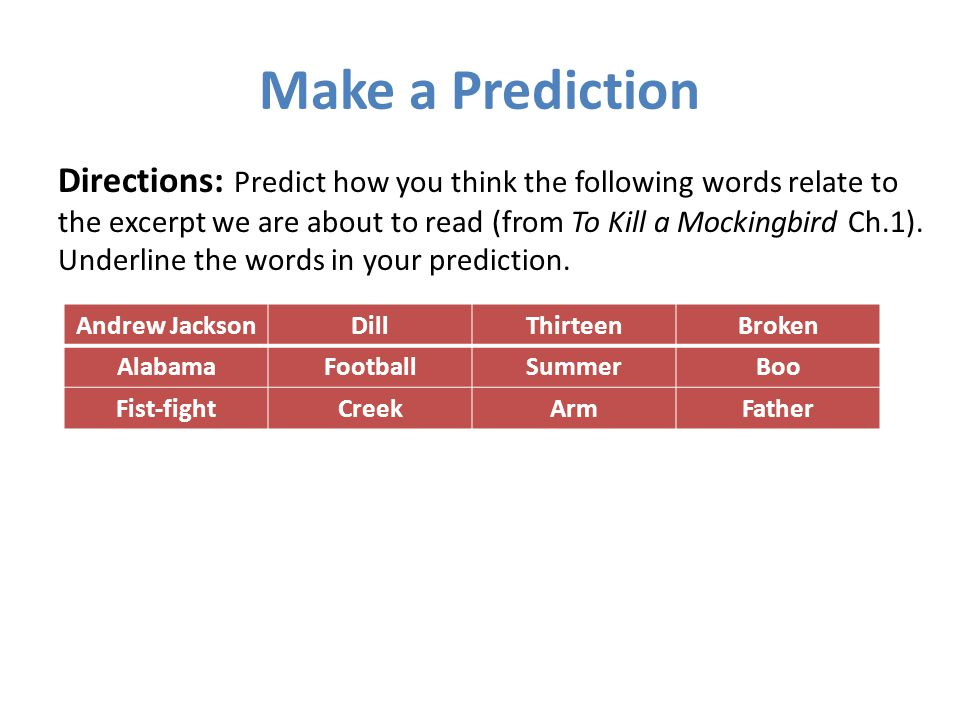 Make a Prediction Directions: Predict how you think the following words relate to the excerpt we are about to read (from To Kill a Mockingbird Ch.1).