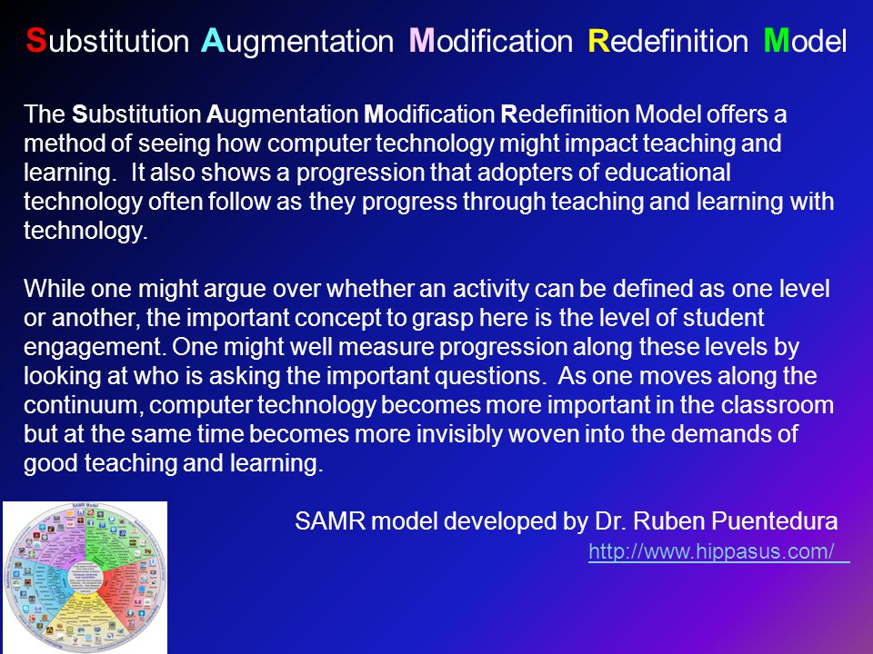 The Substitution Augmentation Modification Redefinition Model offers a method of seeing how computer technology might impact teaching and learning.