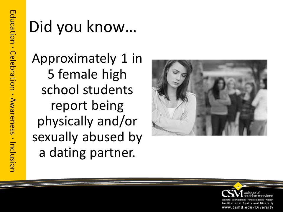 Did you know… Approximately 1 in 5 female high school students report being physically and/or sexually abused by a dating partner. Education · Celebra