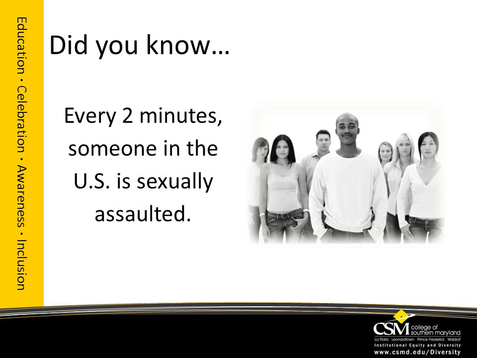Did you know… Every 2 minutes, someone in the U.S. is sexually assaulted. Education · Celebration · Awareness · Inclusion