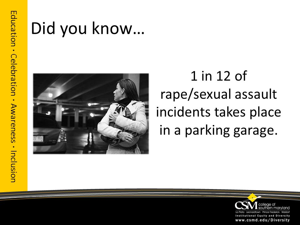 Did you know… Education · Celebration · Awareness · Inclusion 1 in 12 of rape/sexual assault incidents takes place in a parking garage.