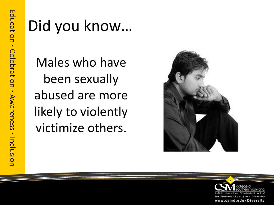 Did you know… Education · Celebration · Awareness · Inclusion Males who have been sexually abused are more likely to violently victimize others.