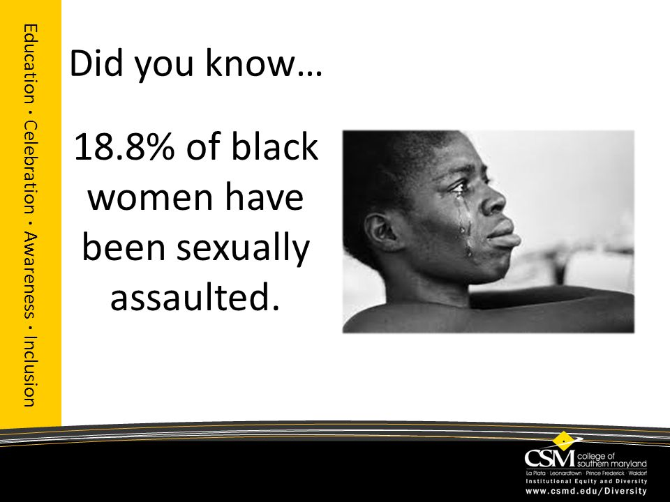 Did you know… 18.8% of black women have been sexually assaulted. Education · Celebration · Awareness · Inclusion