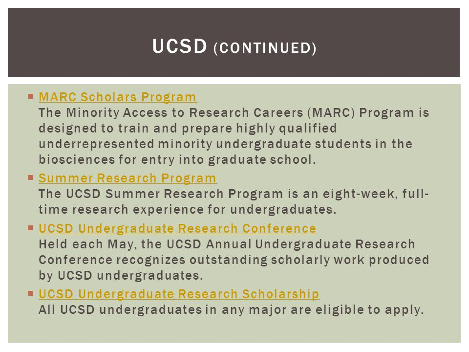  MARC Scholars Program The Minority Access to Research Careers (MARC) Program is designed to train and prepare highly qualified underrepresented mino