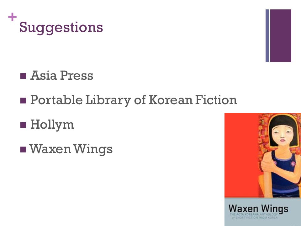 + Suggestions Asia Press Portable Library of Korean Fiction Hollym Waxen Wings