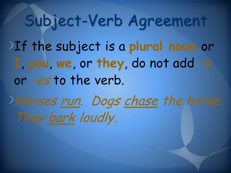 Subject-Verb Agreement If the subject is a plural noun or I, you, we, or they, do not add –s or –es to the verb.
