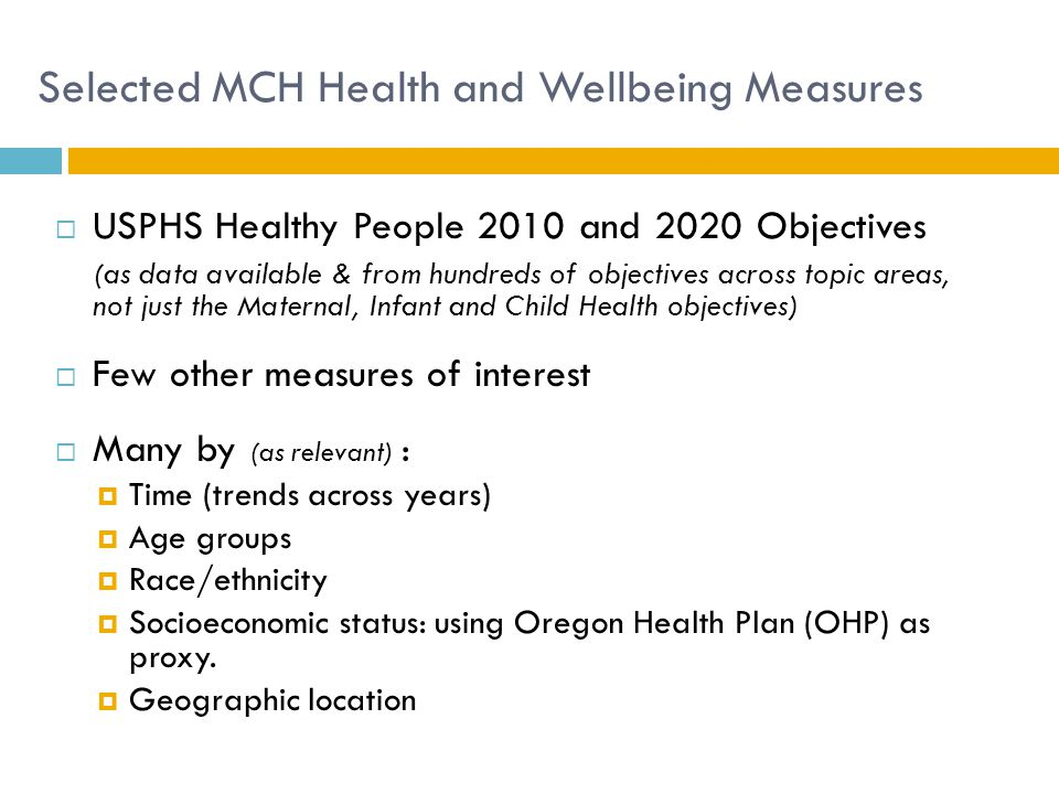 Selected MCH Health and Wellbeing Measures  USPHS Healthy People 2010 and 2020 Objectives (as data available & from hundreds of objectives across top