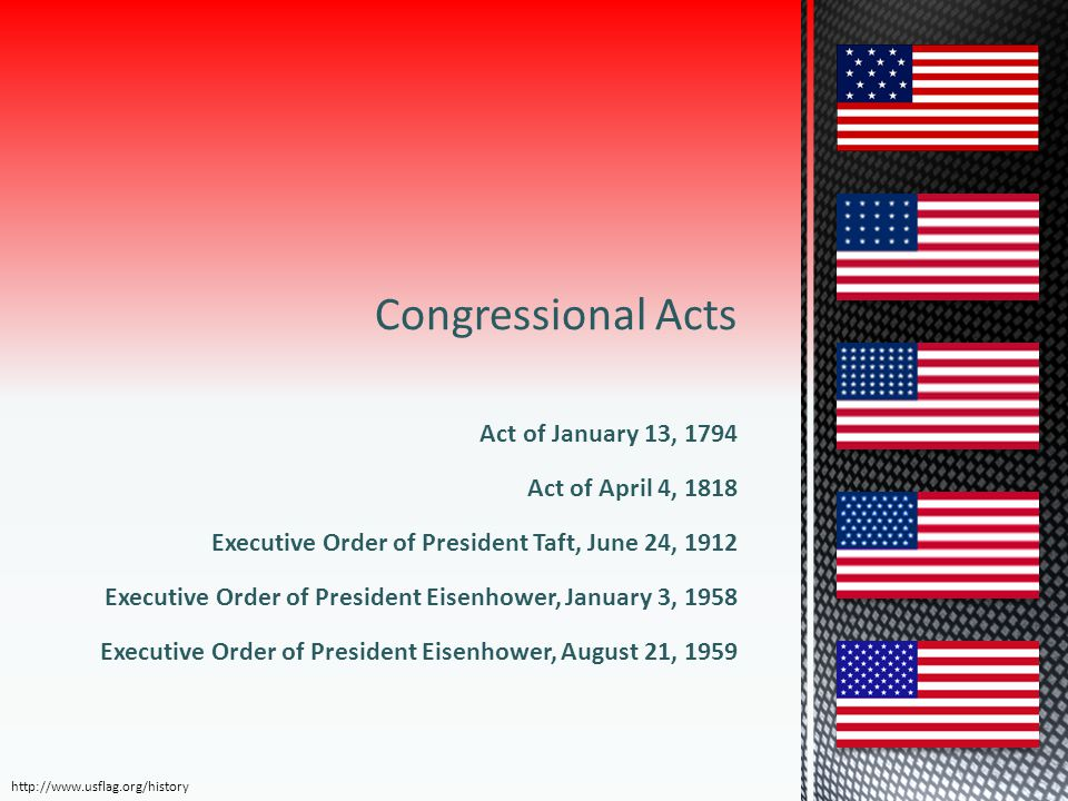 Congressional Acts Act of January 13, 1794 Act of April 4, 1818 Executive Order of President Taft, June 24, 1912 Executive Order of President Eisenhow