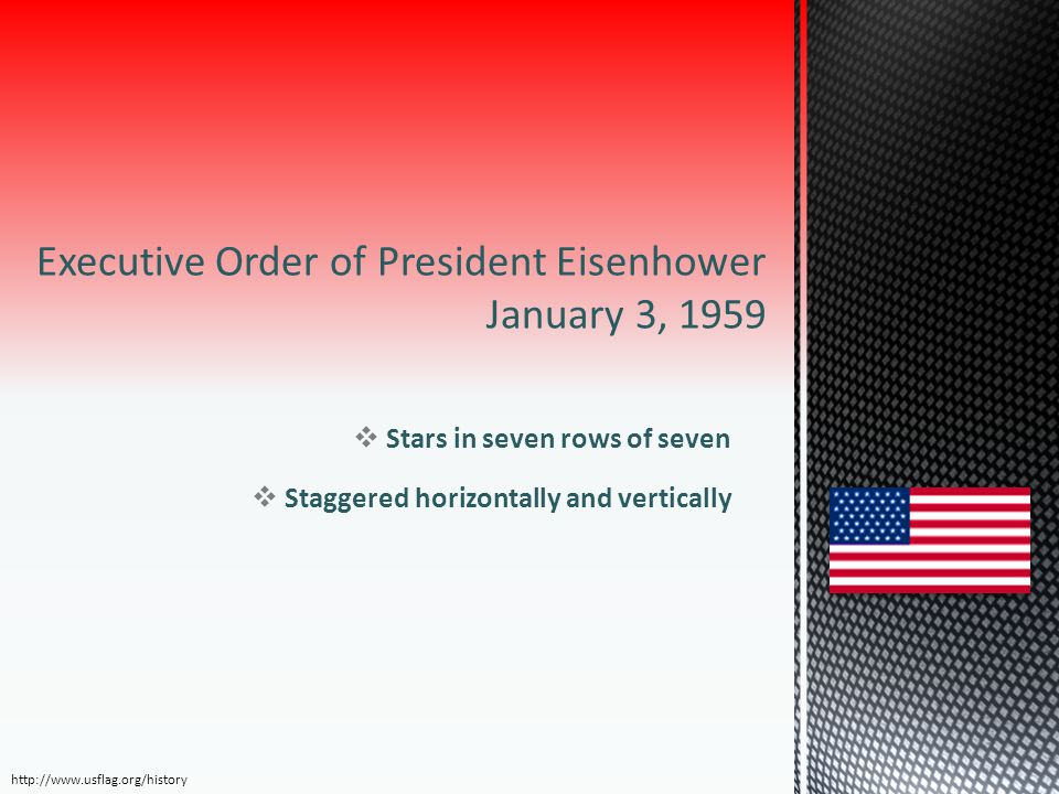 Executive Order of President Eisenhower January 3, 1959  Stars in seven rows of seven  Staggered horizontally and vertically http://www.usflag.org/h