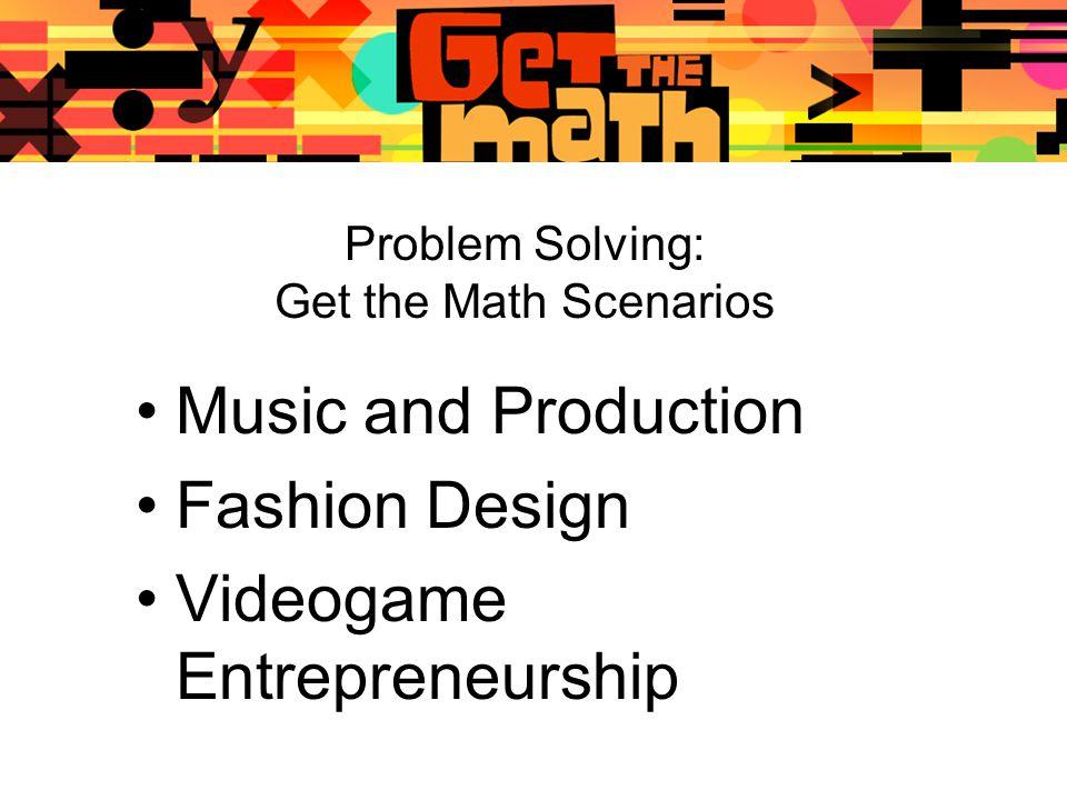 Problem Solving: Get the Math Scenarios Music and Production Fashion Design Videogame Entrepreneurship