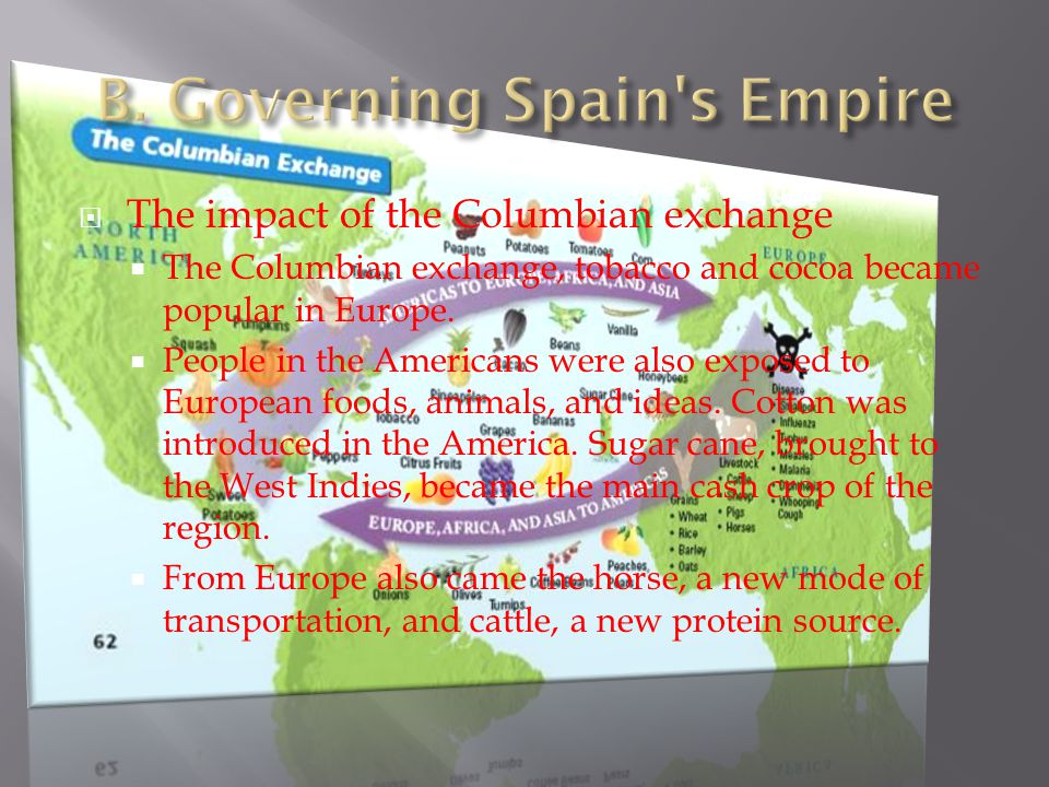  The impact of the Columbian exchange  The Columbian exchange, tobacco and cocoa became popular in Europe.  People in the Americans were also expos