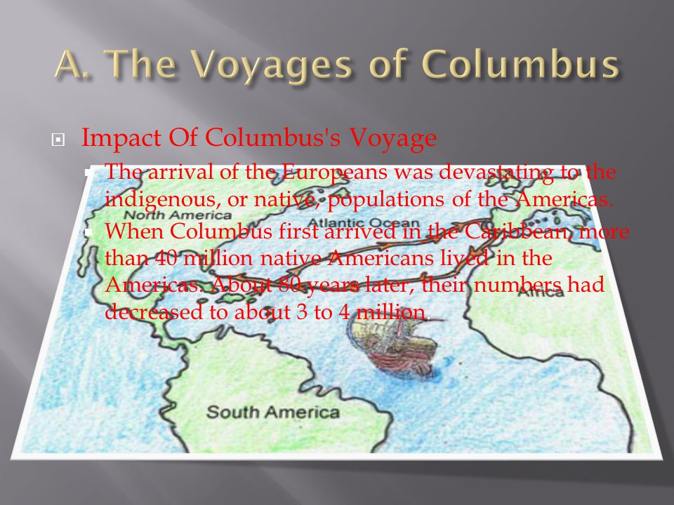  Impact Of Columbus's Voyage  The arrival of the Europeans was devastating to the indigenous, or native, populations of the Americas.  When Columbu