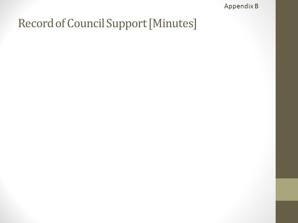 Appendix B Record of Council Support [Minutes]