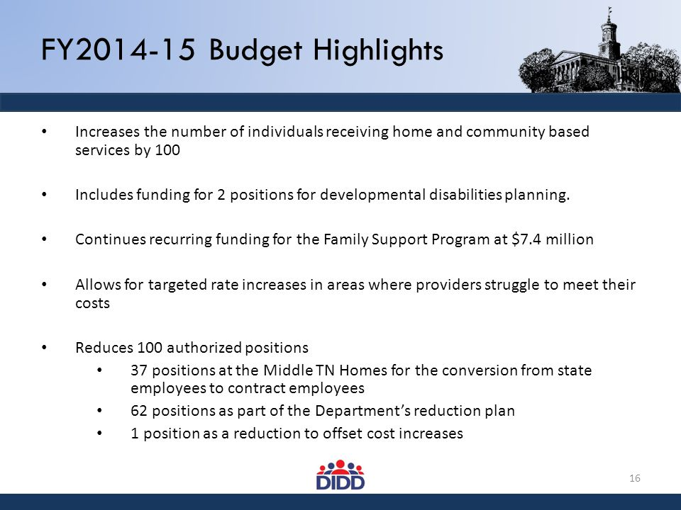FY2014-15 Budget Highlights Increases the number of individuals receiving home and community based services by 100 Includes funding for 2 positions fo