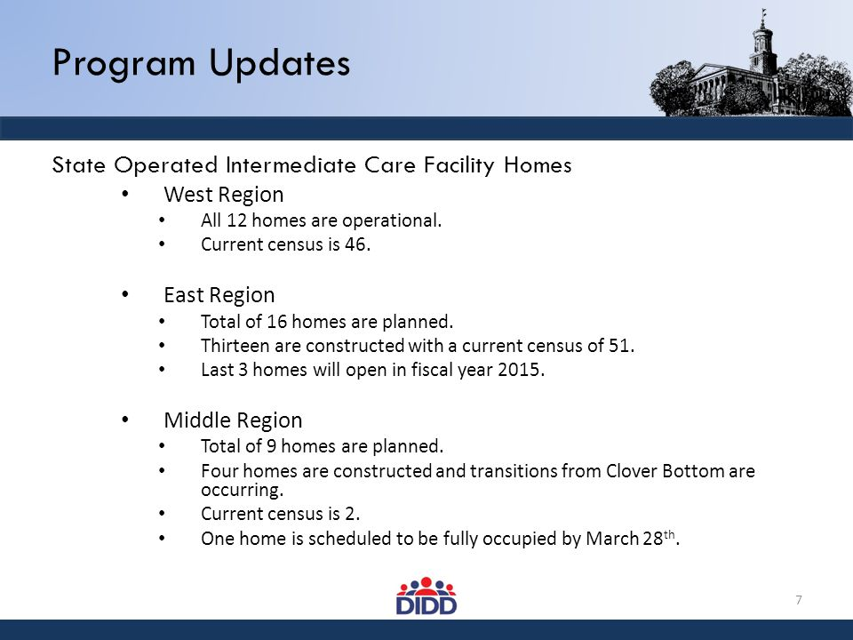 Program Updates State Operated Intermediate Care Facility Homes West Region All 12 homes are operational. Current census is 46. East Region Total of 1