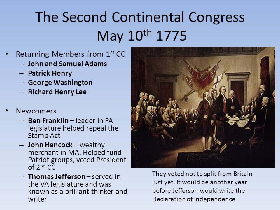 Key Actions Continental Congress: Authorized printing of money Set up a post office Formed committees to handle Native Americans and foreign countries Created Continental Army Appointed George Washington as commander Delegates offered Britain one last chance to avoid war: Olive Branch Petition Assured King George that the colonists wanted peace Asked him to protect colonists rights King rejected it; prepared for war Hired 30,000 German troops to fight with Britain