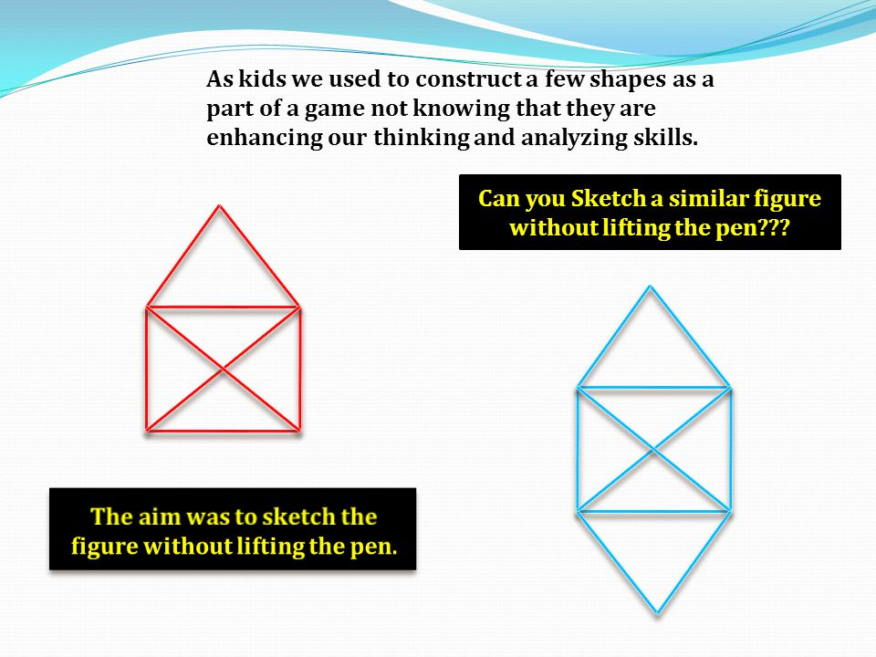 As kids we used to construct a few shapes as a part of a game not knowing that they are enhancing our thinking and analyzing skills. Can you Sketch a